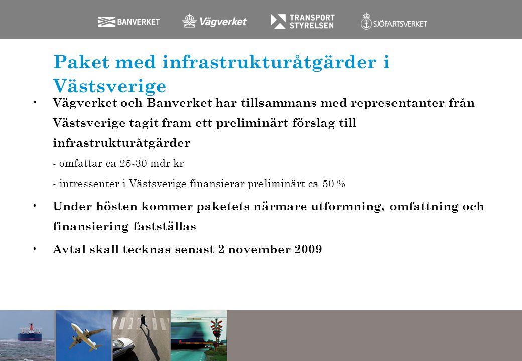Paket med infrastrukturåtgärder i Västsverige