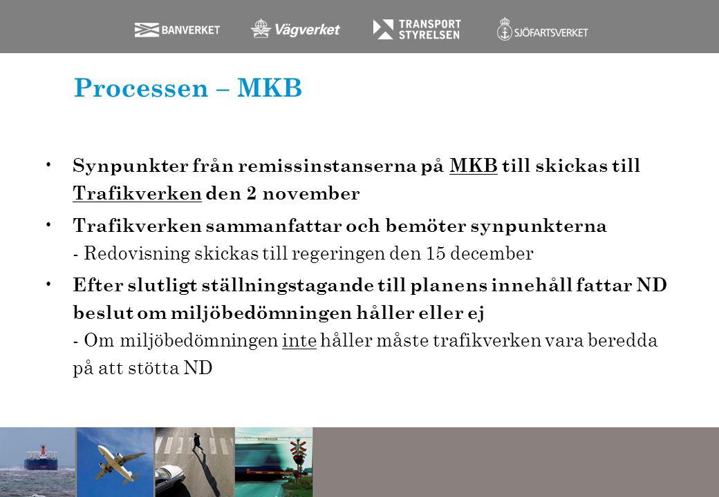 Processen – MKB Synpunkter från remissinstanserna på MKB till skickas till Trafikverken den 2 november.