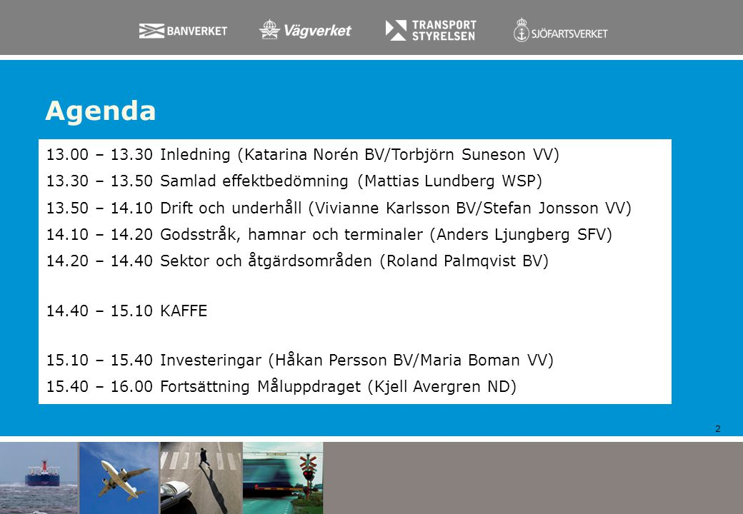 Agenda 13.00 – 13.30 Inledning (Katarina Norén BV/Torbjörn Suneson VV)
