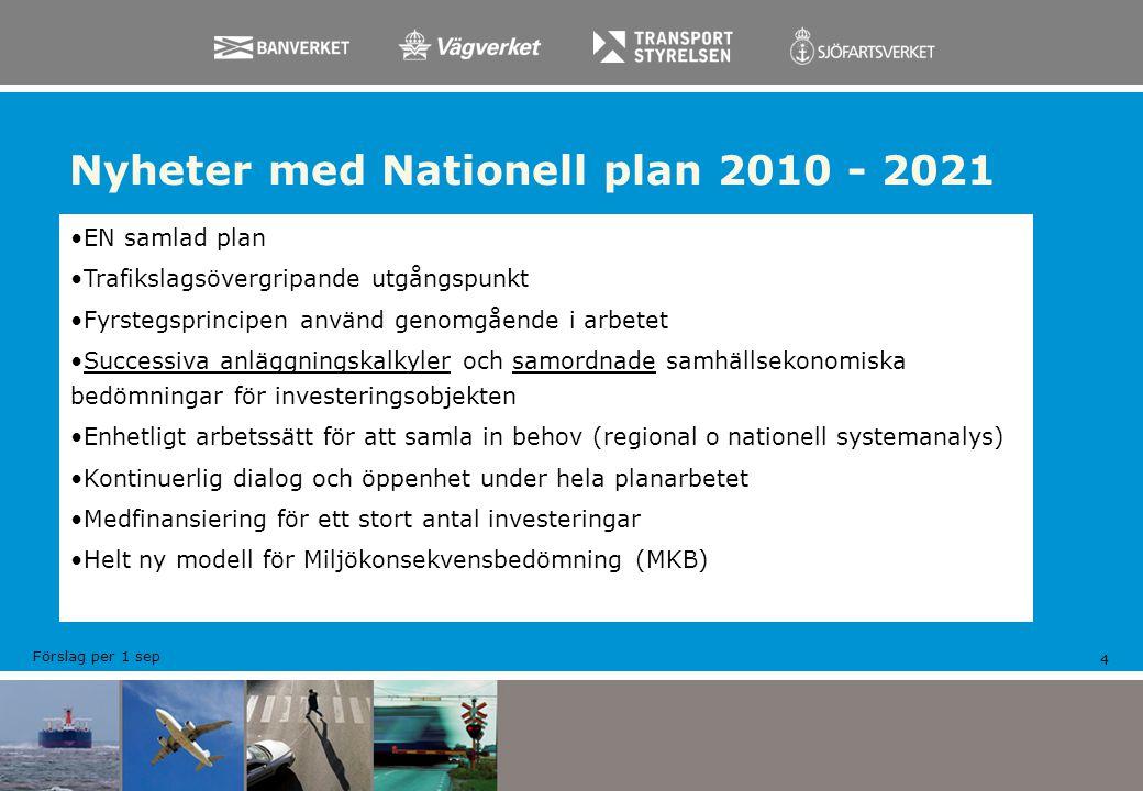 Nyheter med Nationell plan 2010 - 2021