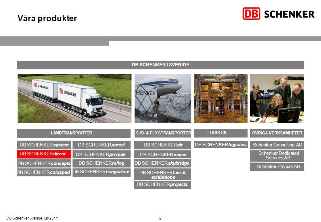 Våra produkter DB SCHENKER I SVERIGE DB SCHENKERsystem