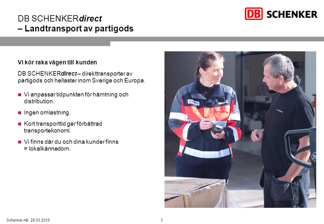 DB SCHENKERdirect – Landtransport av partigods