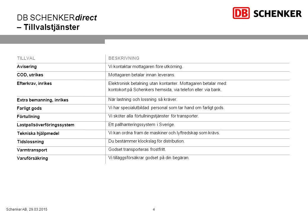 DB SCHENKERdirect – Tillvalstjänster