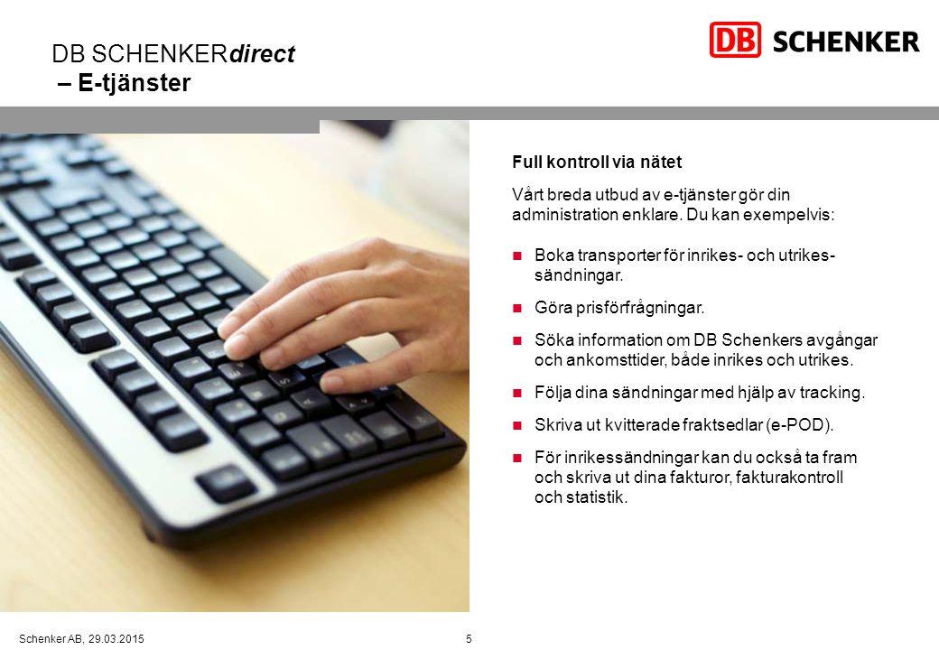 DB SCHENKERdirect – E-tjänster