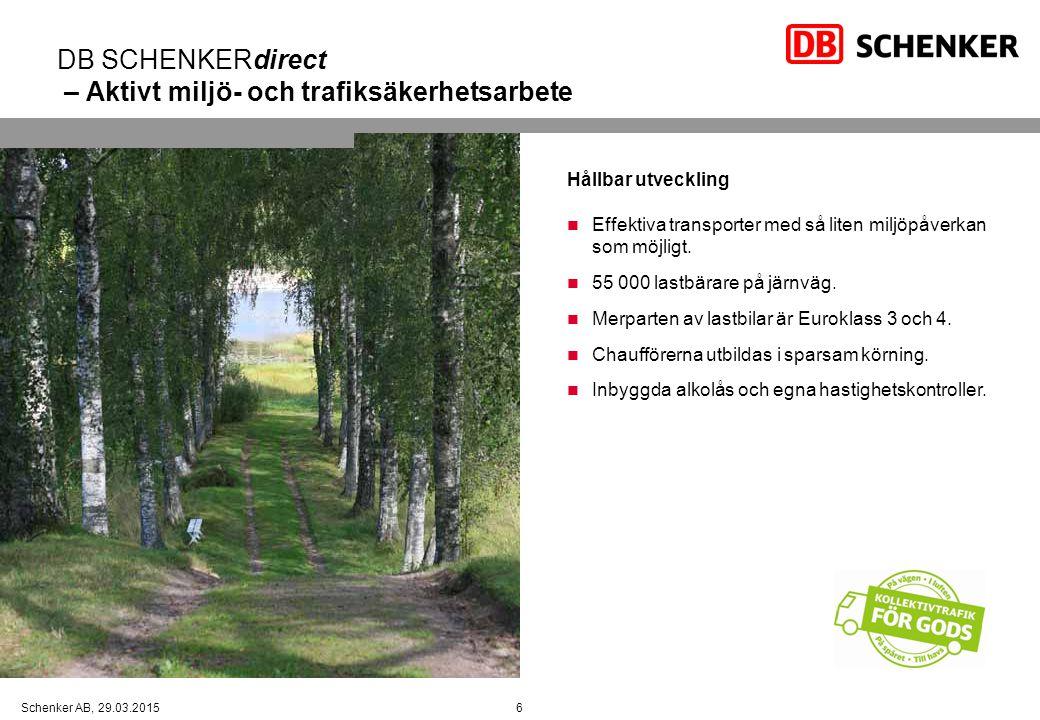DB SCHENKERdirect – Aktivt miljö- och trafiksäkerhetsarbete