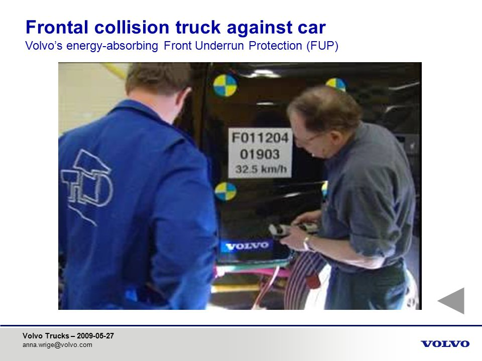 Frontal collision truck against car