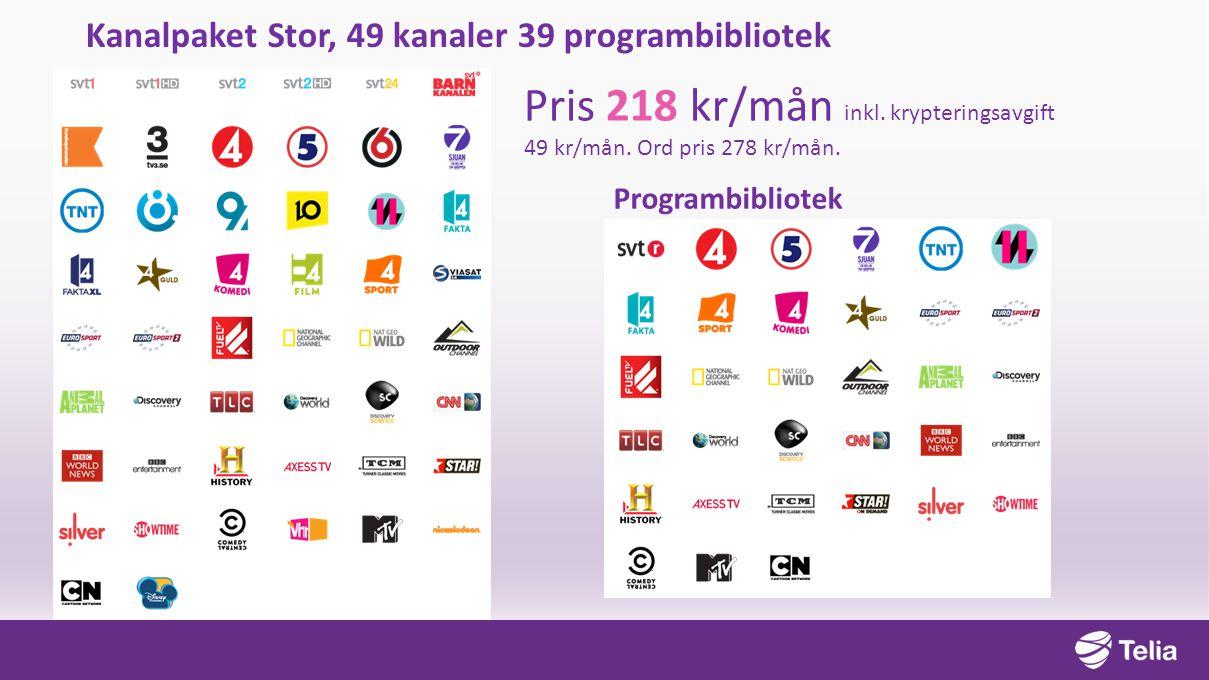 Kanalpaket Stor, 49 kanaler 39 programbibliotek