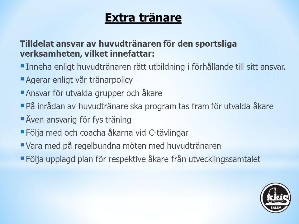 Extra tränare Tilldelat ansvar av huvudtränaren för den sportsliga verksamheten, vilket innefattar: