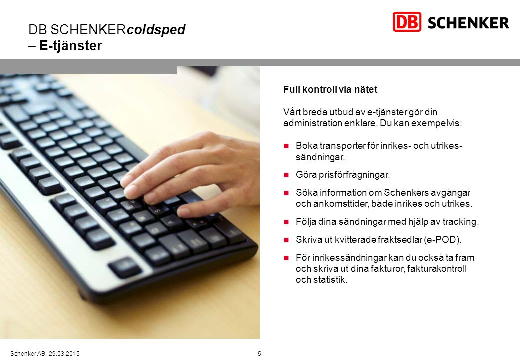 DB SCHENKERcoldsped – E-tjänster