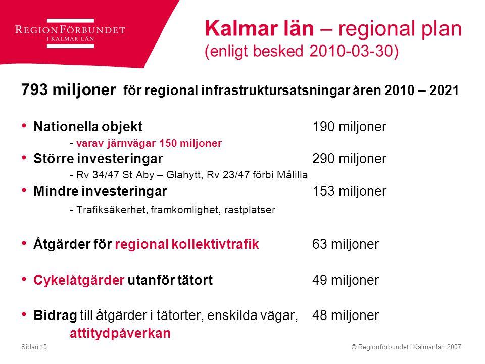 Kalmar län – regional plan (enligt besked 2010-03-30)