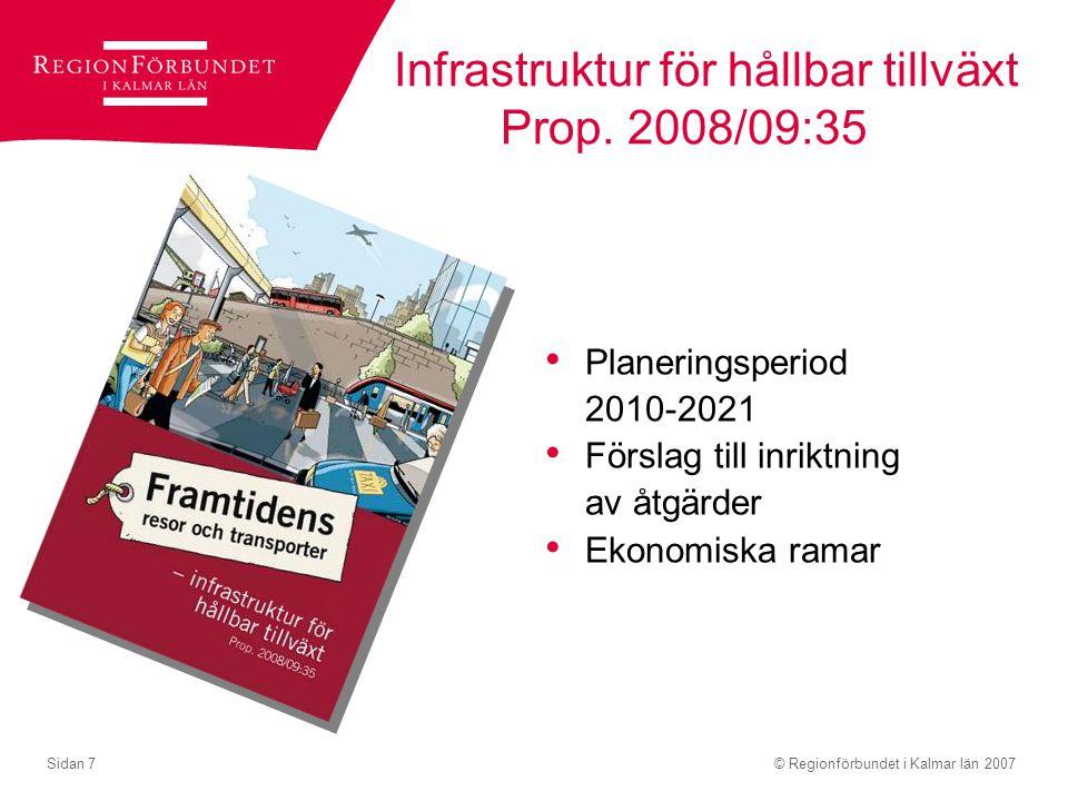 Infrastruktur för hållbar tillväxt Prop. 2008/09:35