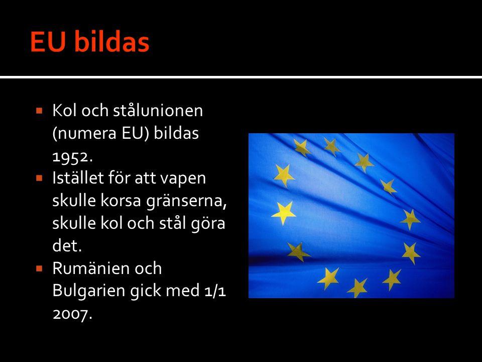 EU bildas Kol och stålunionen (numera EU) bildas 1952.
