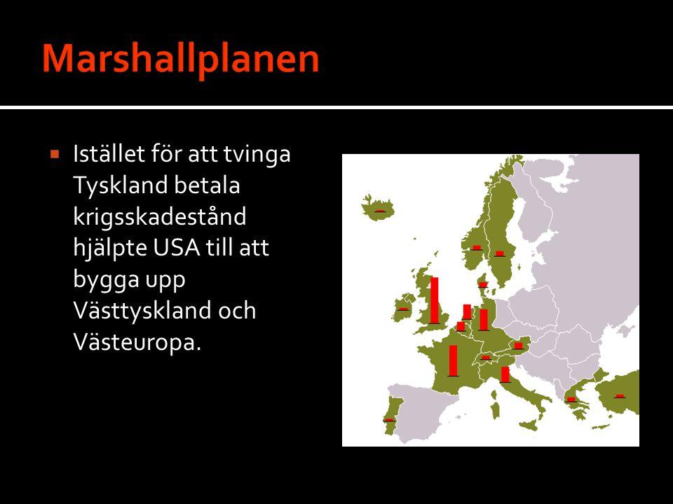 Marshallplanen Istället för att tvinga Tyskland betala krigsskadestånd hjälpte USA till att bygga upp Västtyskland och Västeuropa.