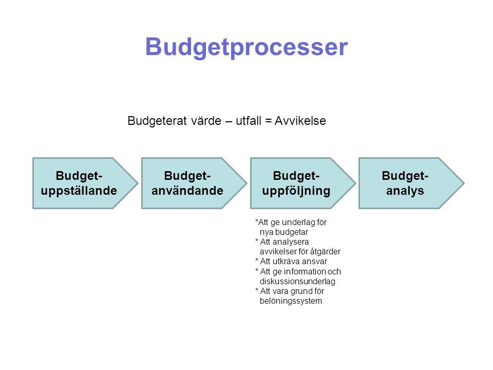 Budgetprocesser Budgeterat värde – utfall = Avvikelse
