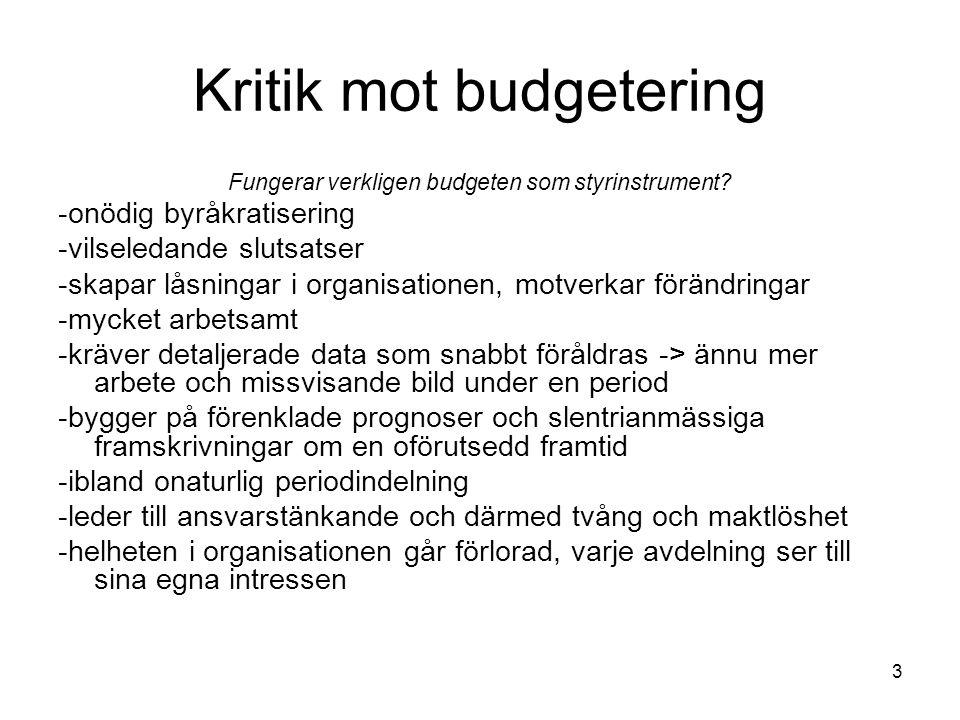 Kritik mot budgetering
