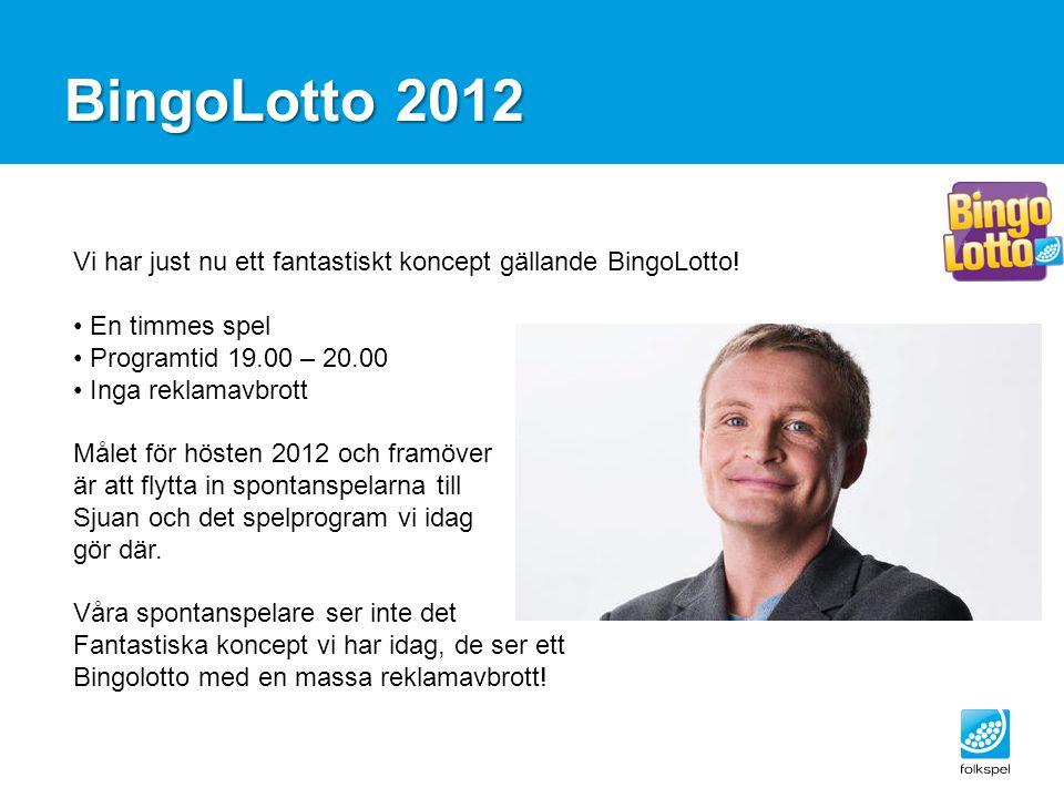 BingoLotto 2012 Vi har just nu ett fantastiskt koncept gällande BingoLotto! En timmes spel. Programtid 19.00 – 20.00.
