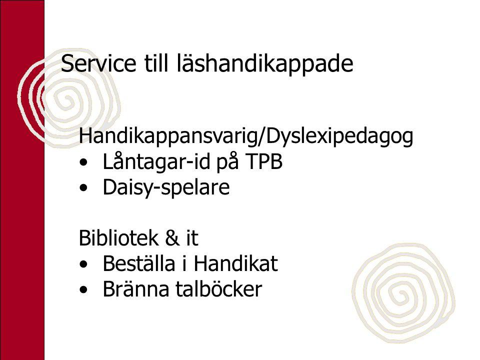 Service till läshandikappade