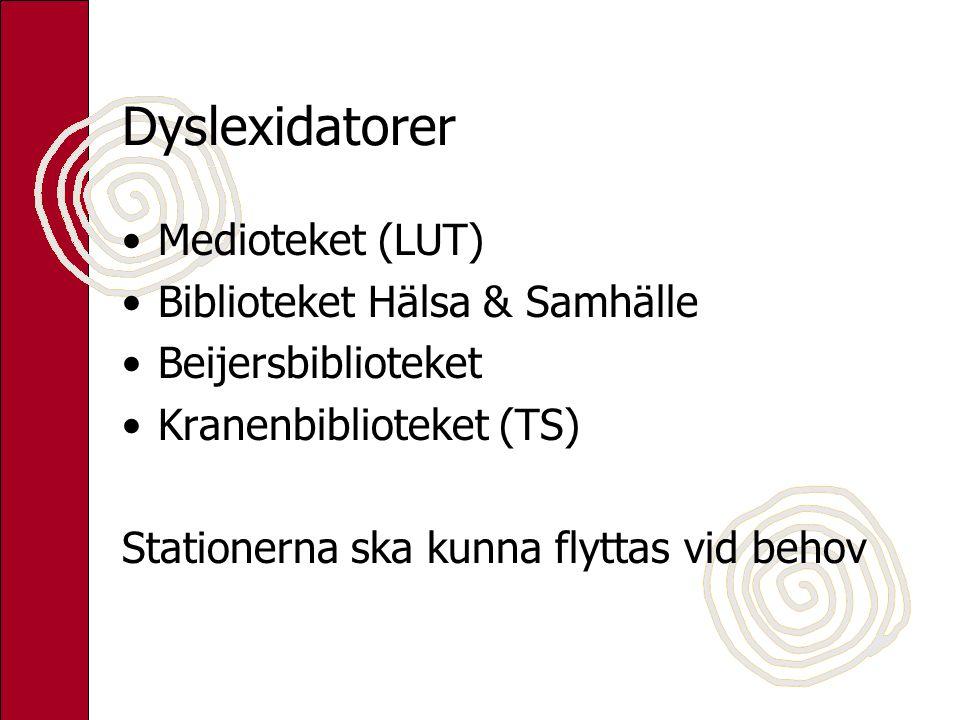 Dyslexidatorer Medioteket (LUT) Biblioteket Hälsa & Samhälle