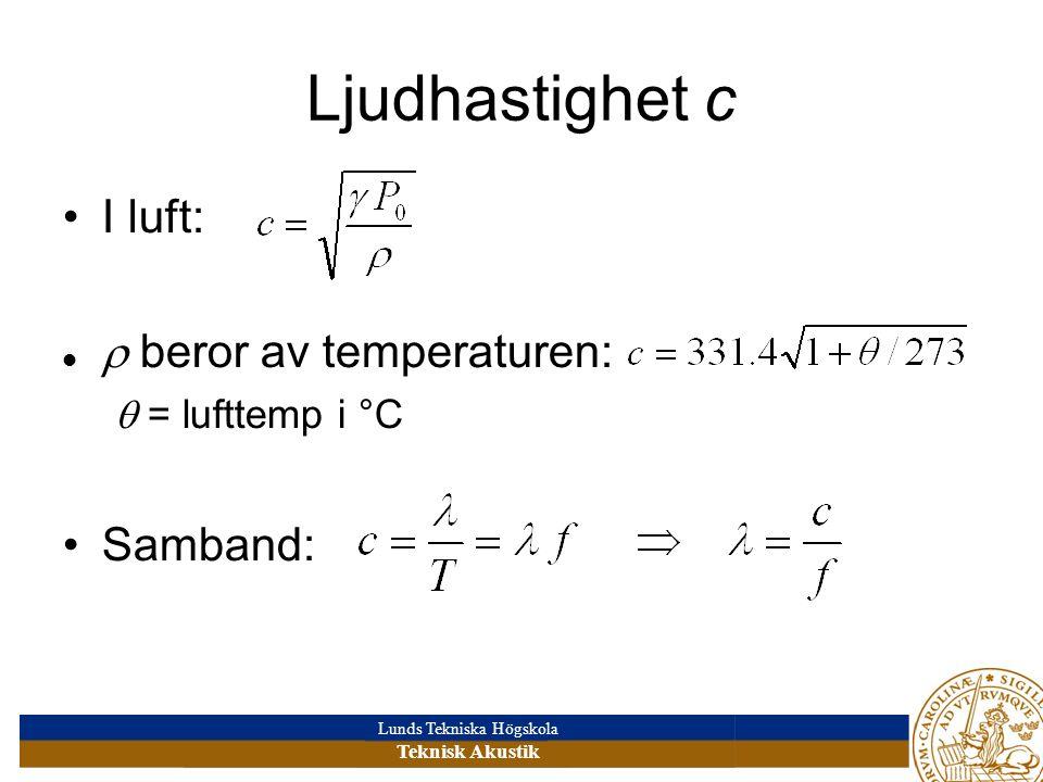 Ljudhastighet c I luft:  beror av temperaturen: Samband: