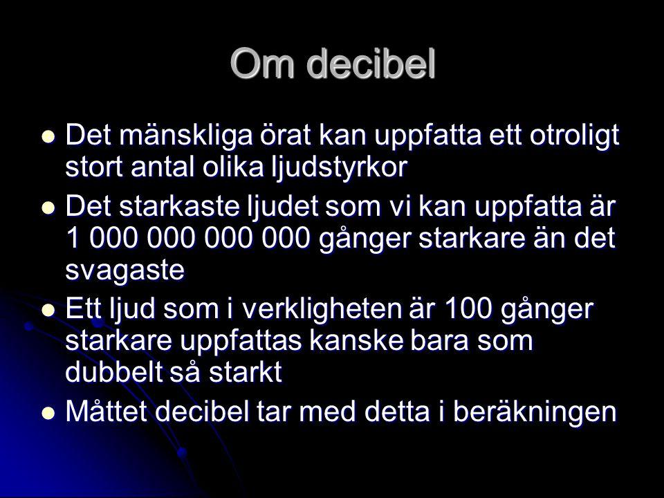 Om decibel Det mänskliga örat kan uppfatta ett otroligt stort antal olika ljudstyrkor.