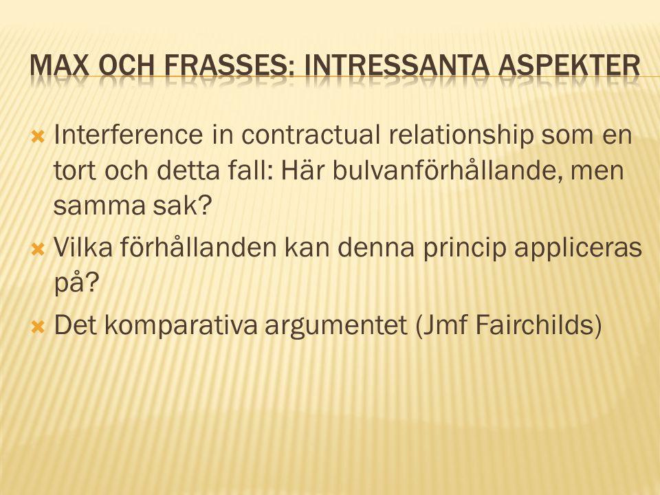 Max och Frasses: Intressanta aspekter
