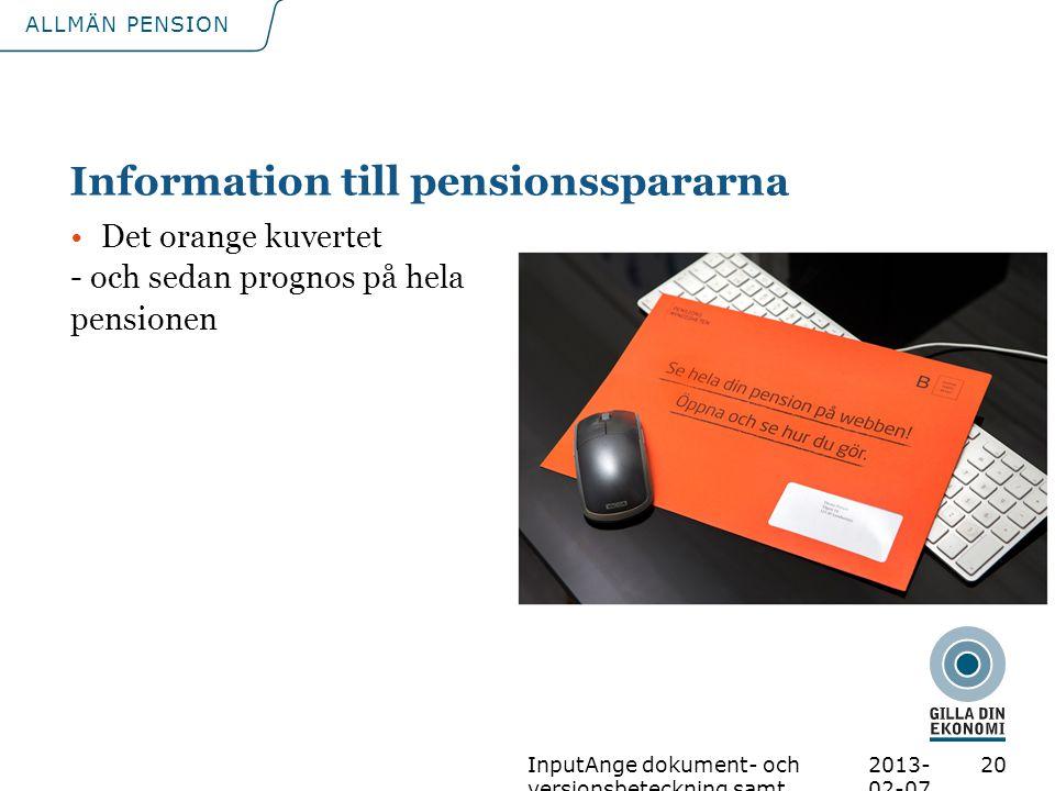 Information till pensionsspararna