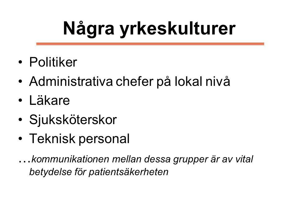 Några yrkeskulturer Politiker Administrativa chefer på lokal nivå