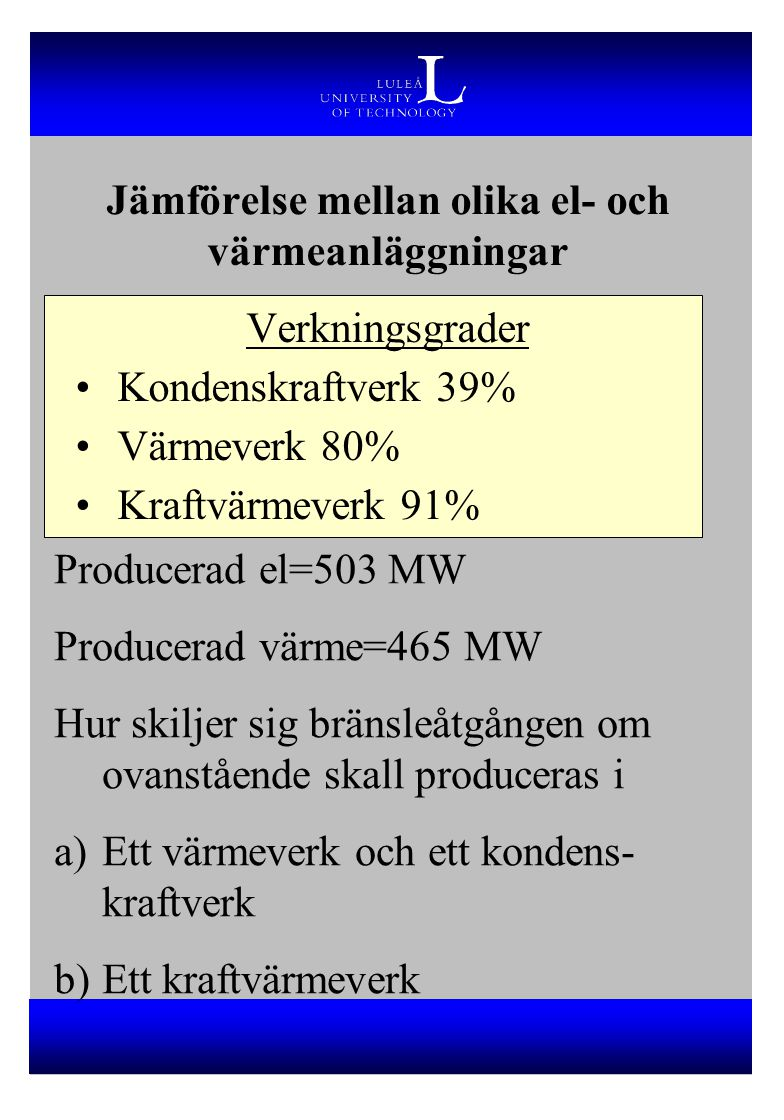 Jämförelse mellan olika el- och värmeanläggningar