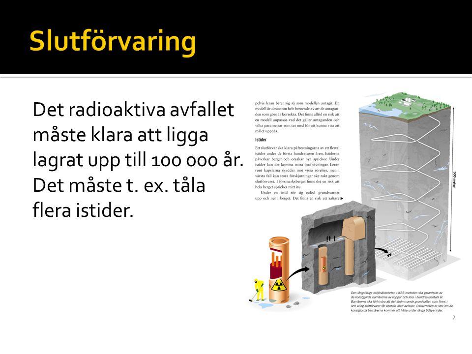 Slutförvaring Det radioaktiva avfallet måste klara att ligga lagrat upp till 100 000 år.