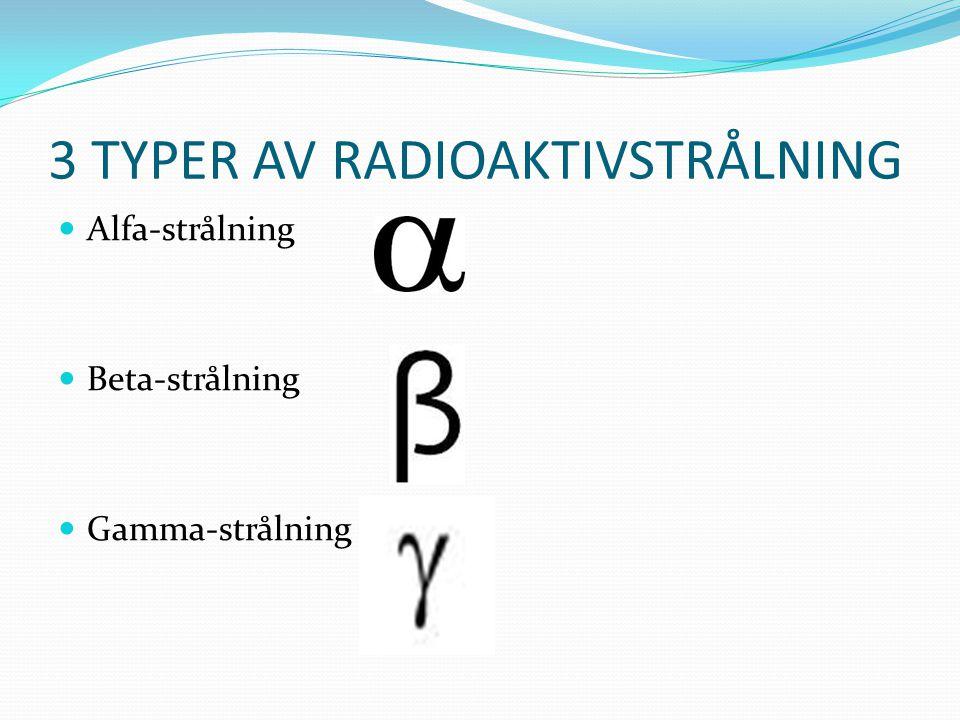 3 TYPER AV RADIOAKTIVSTRÅLNING