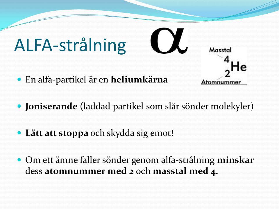 ALFA-strålning En alfa-partikel är en heliumkärna