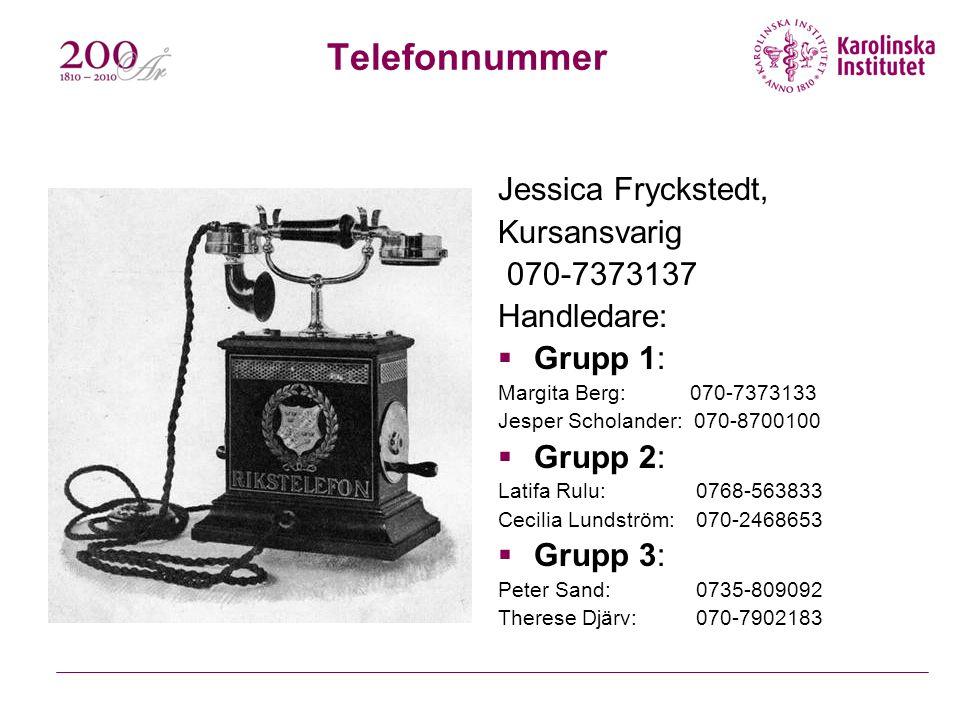 Telefonnummer Jessica Fryckstedt, Kursansvarig 070-7373137 Handledare: