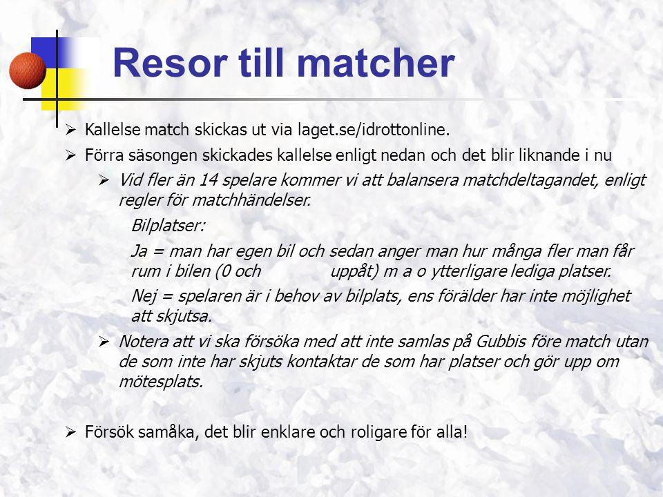 Resor till matcher Kallelse match skickas ut via laget.se/idrottonline. Förra säsongen skickades kallelse enligt nedan och det blir liknande i nu.