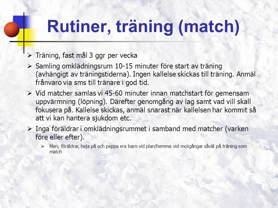 Rutiner, träning (match)