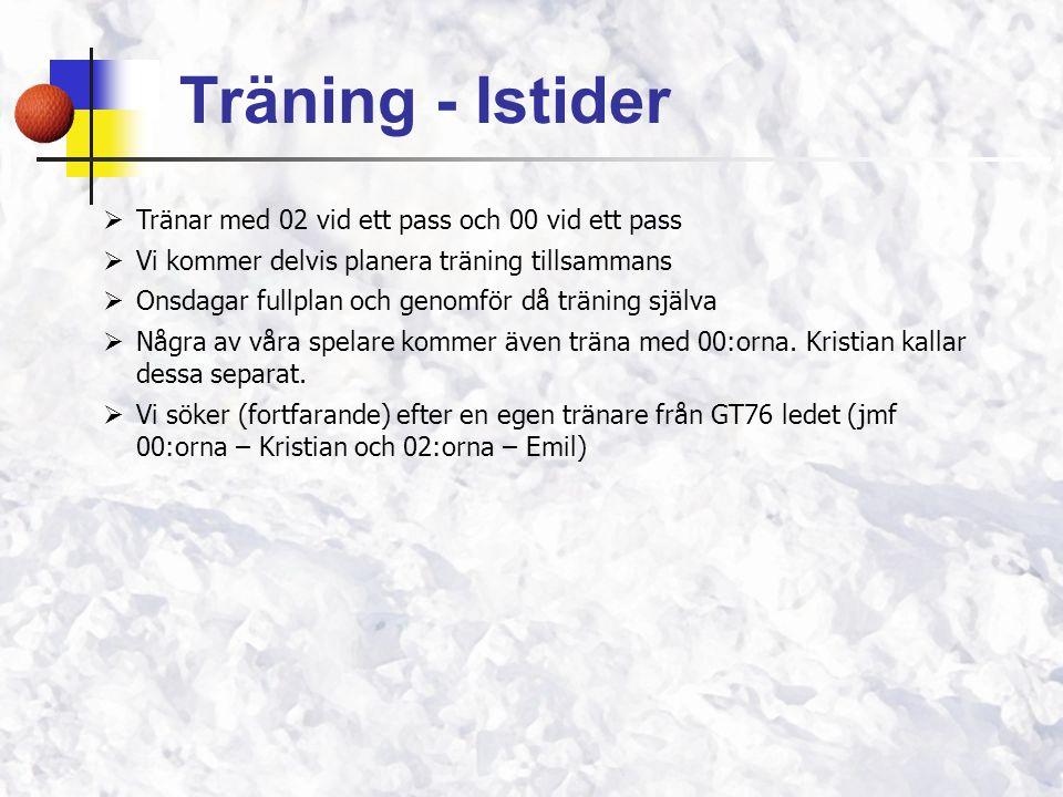 Träning - Istider Tränar med 02 vid ett pass och 00 vid ett pass