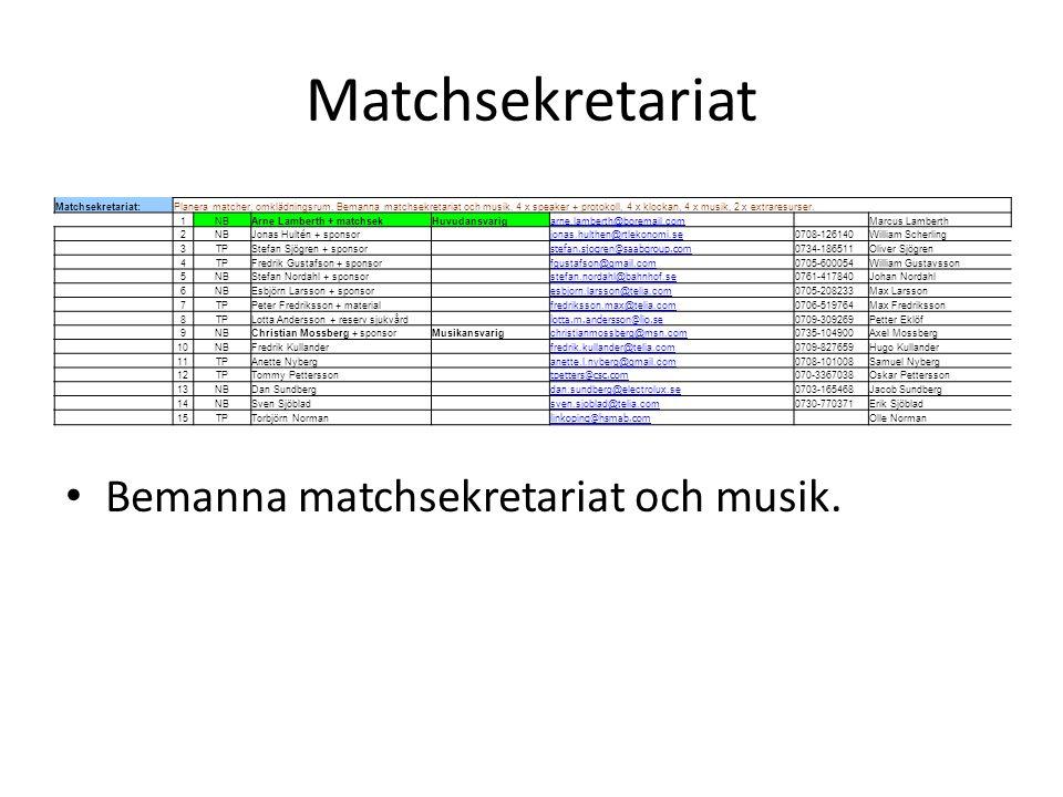 Matchsekretariat Bemanna matchsekretariat och musik. Matchsekretariat: