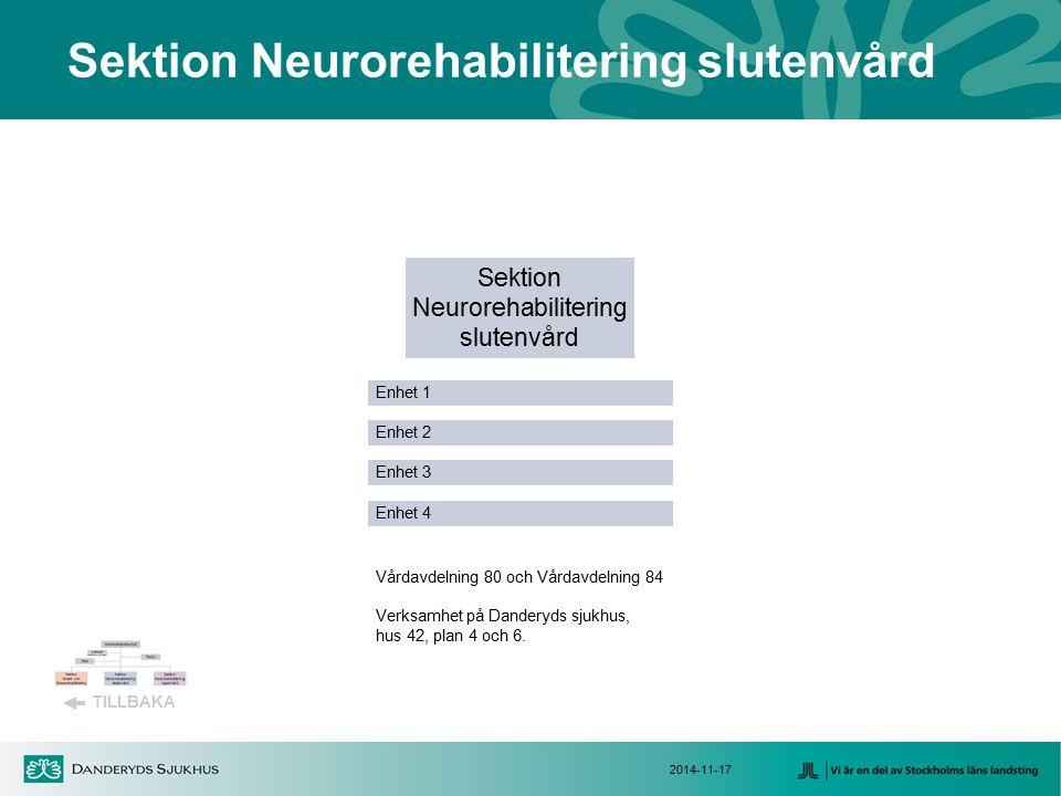 Sektion Neurorehabilitering slutenvård