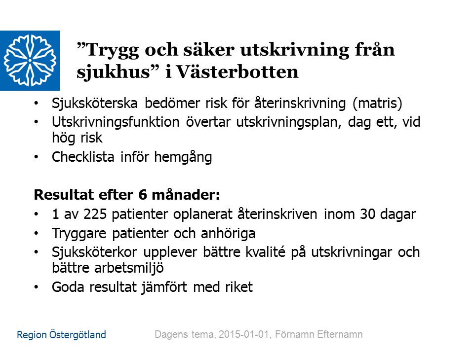 Trygg och säker utskrivning från sjukhus i Västerbotten