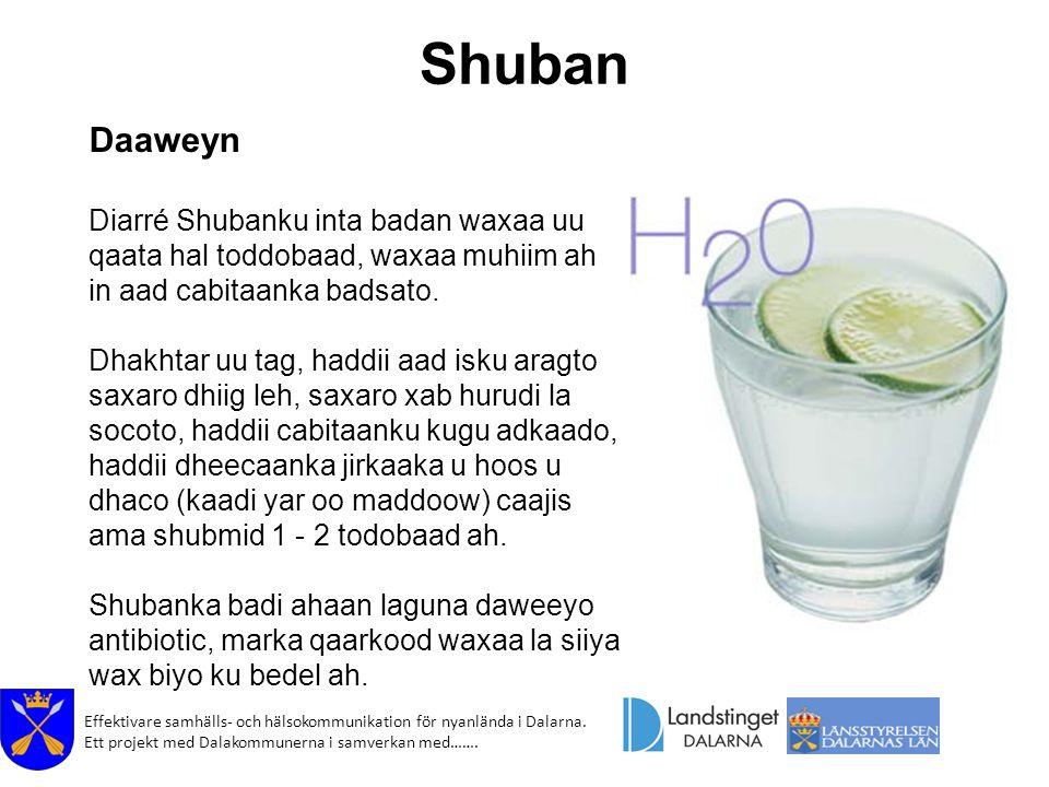 Shuban Daaweyn. Diarré Shubanku inta badan waxaa uu qaata hal toddobaad, waxaa muhiim ah in aad cabitaanka badsato.