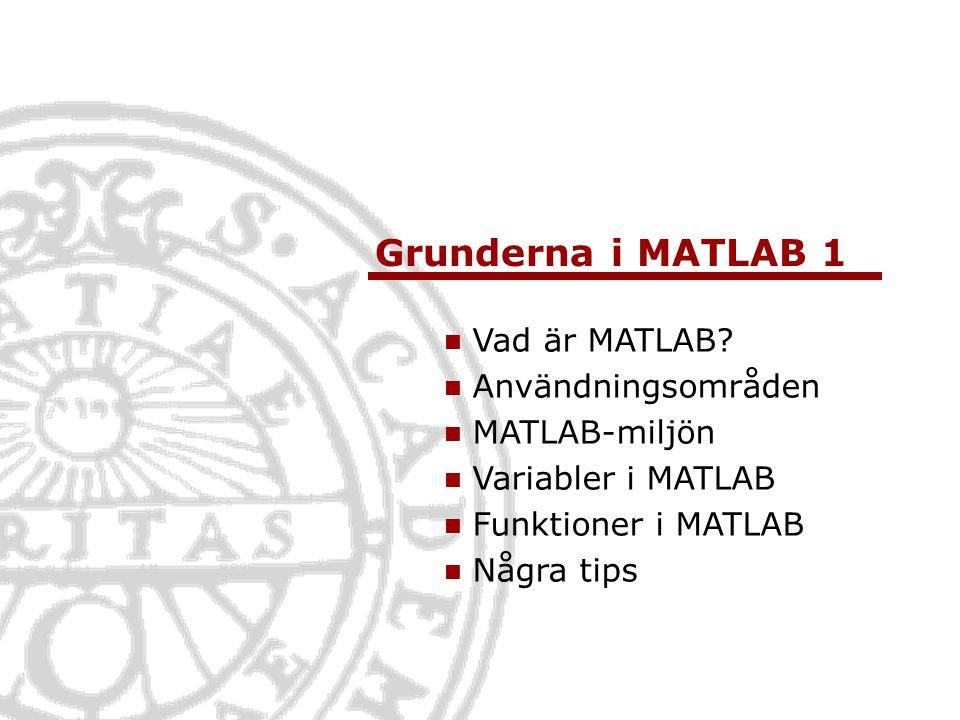Grunderna i MATLAB 1 Vad är MATLAB Användningsområden MATLAB-miljön