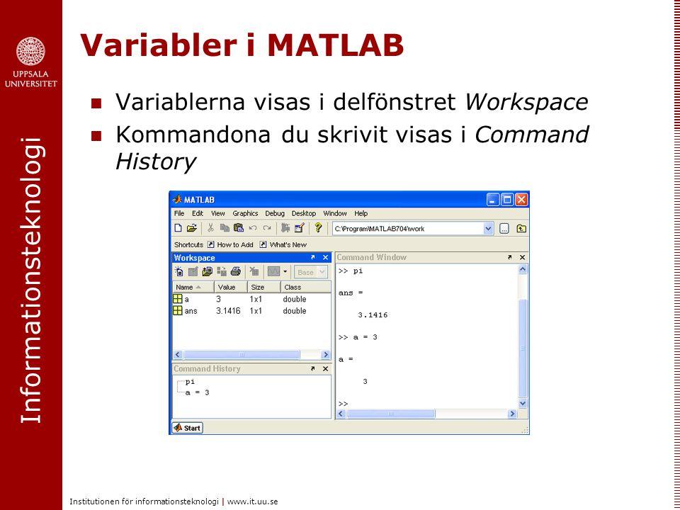 Variabler i MATLAB Variablerna visas i delfönstret Workspace