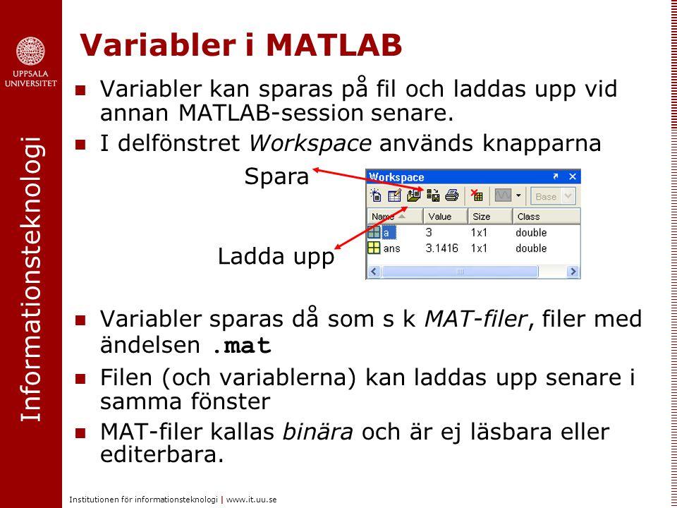 Variabler i MATLAB Variabler kan sparas på fil och laddas upp vid annan MATLAB-session senare. I delfönstret Workspace används knapparna.