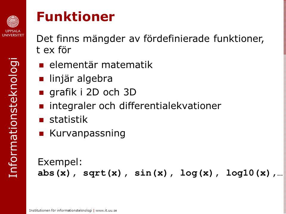 Funktioner Det finns mängder av fördefinierade funktioner, t ex för