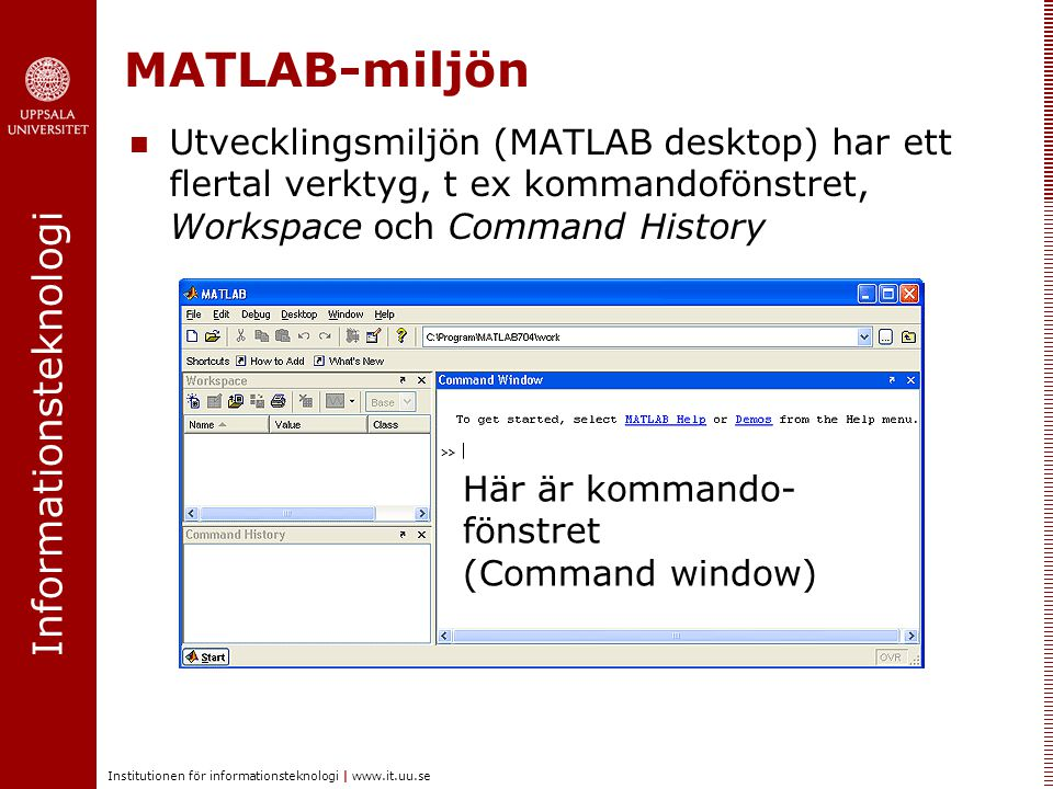 MATLAB-miljön Utvecklingsmiljön (MATLAB desktop) har ett flertal verktyg, t ex kommandofönstret, Workspace och Command History.