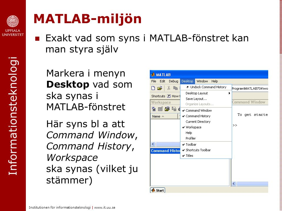 MATLAB-miljön Exakt vad som syns i MATLAB-fönstret kan man styra själv