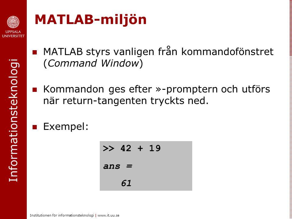 MATLAB-miljön MATLAB styrs vanligen från kommandofönstret (Command Window)