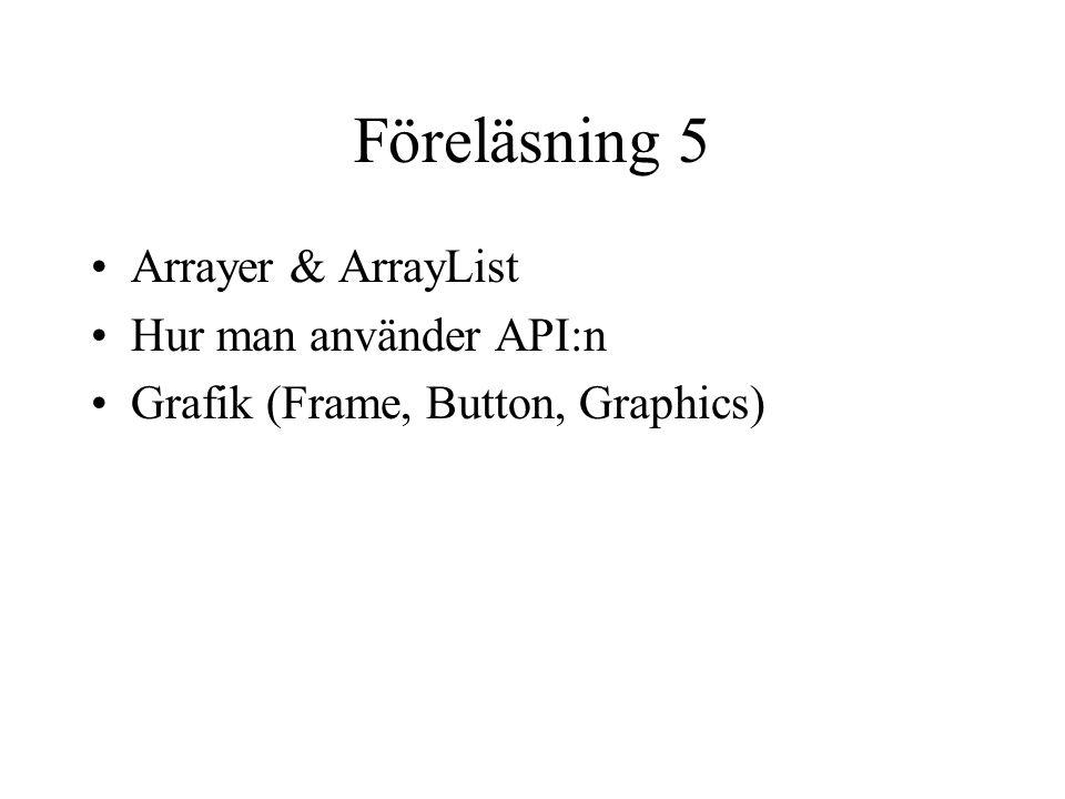 Föreläsning 5 Arrayer & ArrayList Hur man använder API:n