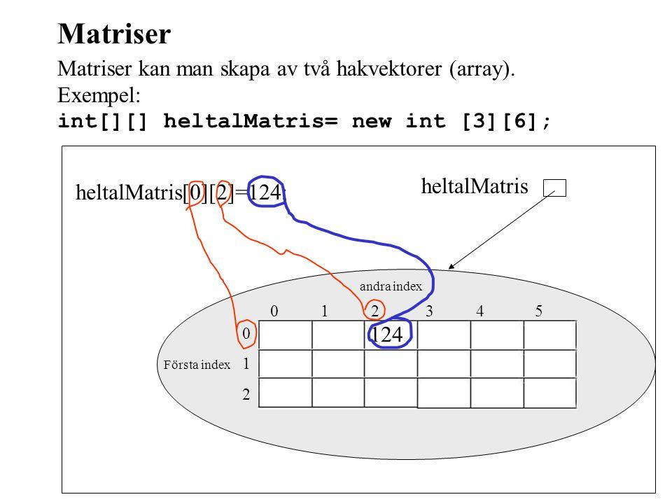 Matriser Matriser kan man skapa av två hakvektorer (array). Exempel: