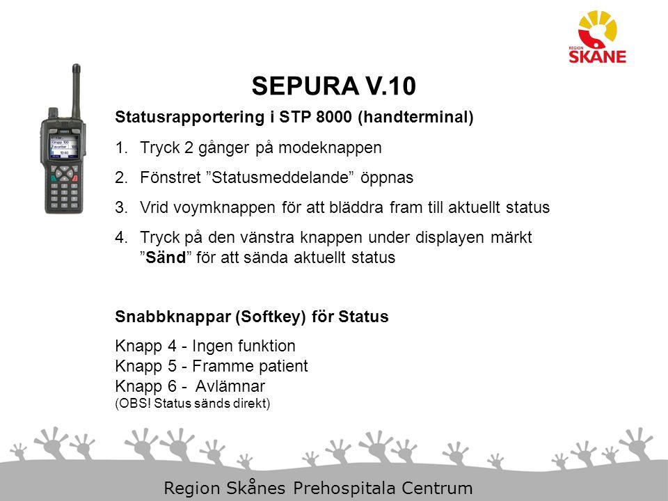 SEPURA V.10 Statusrapportering i STP 8000 (handterminal)