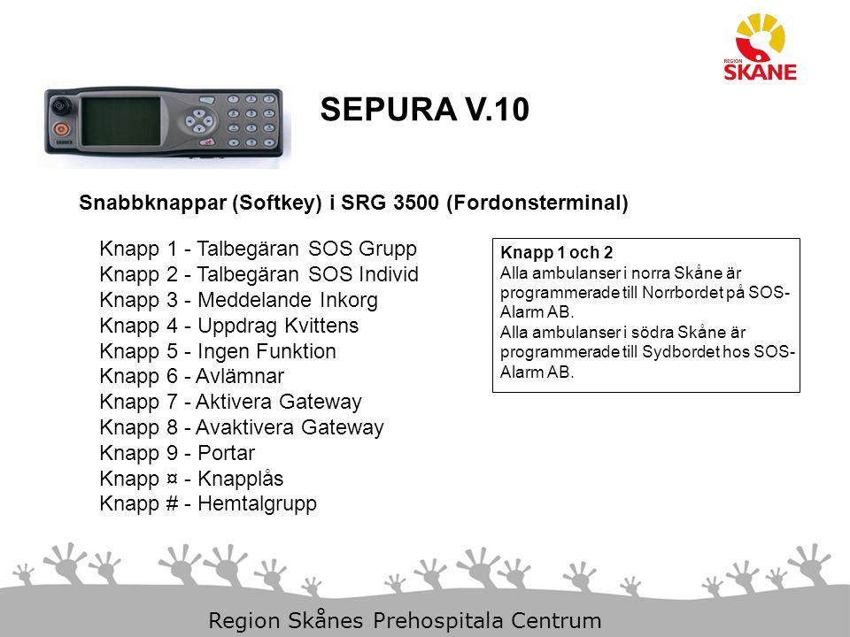 SEPURA V.10 Snabbknappar (Softkey) i SRG 3500 (Fordonsterminal)